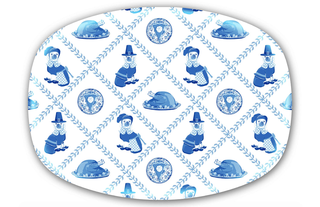 Thanksgiving Pilgrim Pooches Melamine Platter, Blue