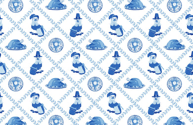 Thanksgiving Pilgrim Pooches Paper Tear-away Placemat Pad, Blue