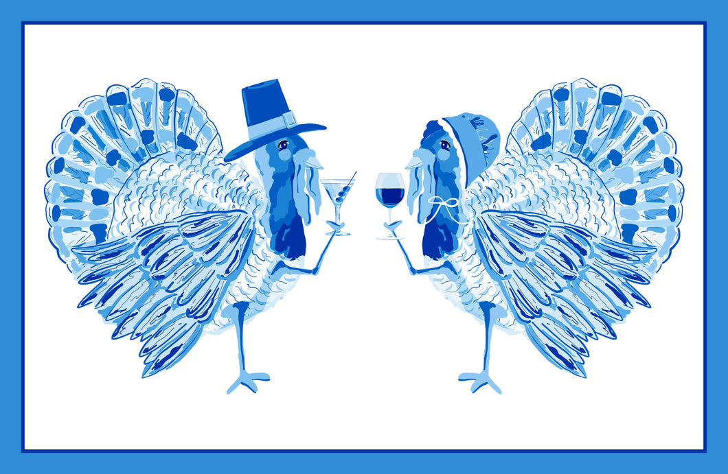 Tipsy Turkeys Paper Tear-away Placemat Pad, Blue