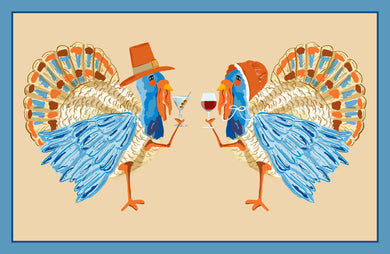 Tipsy Turkeys Paper Tear-away Placemat Pad, Autumn
