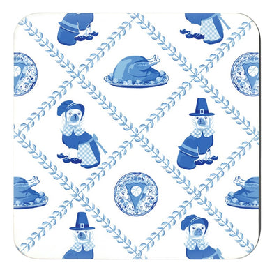 Thanksgiving Pilgrim Pooches Cork Backed Coasters - Set of 4, Blue