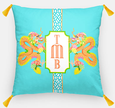 Dragon Crest Personalized Pillow, Lagoon,18