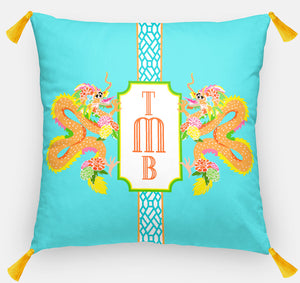 "Dragon Crest Personalized Pillow, Lagoon,18""x18"" or 20""x20"""