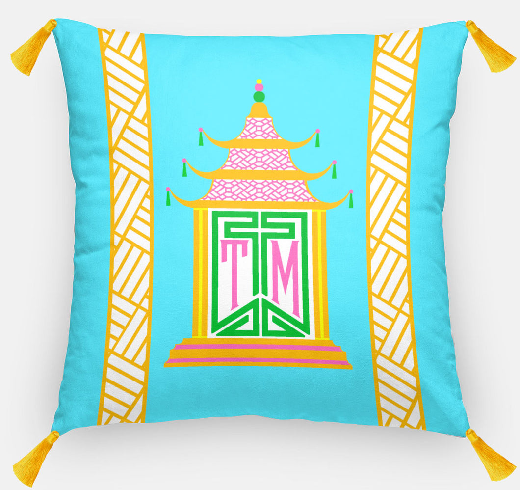 Royal Pagoda Personalized Pillow, Azurite,18