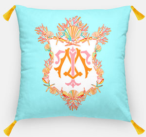 "Seashell Crest  Personalized Pillow, Seaglass,18""x18"" or 20""x20"""