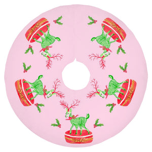 "Limoges Christmas Reindeer Holiday Tree Skirt, 44"" dia., Peppermint"