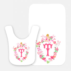 Cupid's Crest Personalized Valentine's Bib & Burp Cloth Gift Set