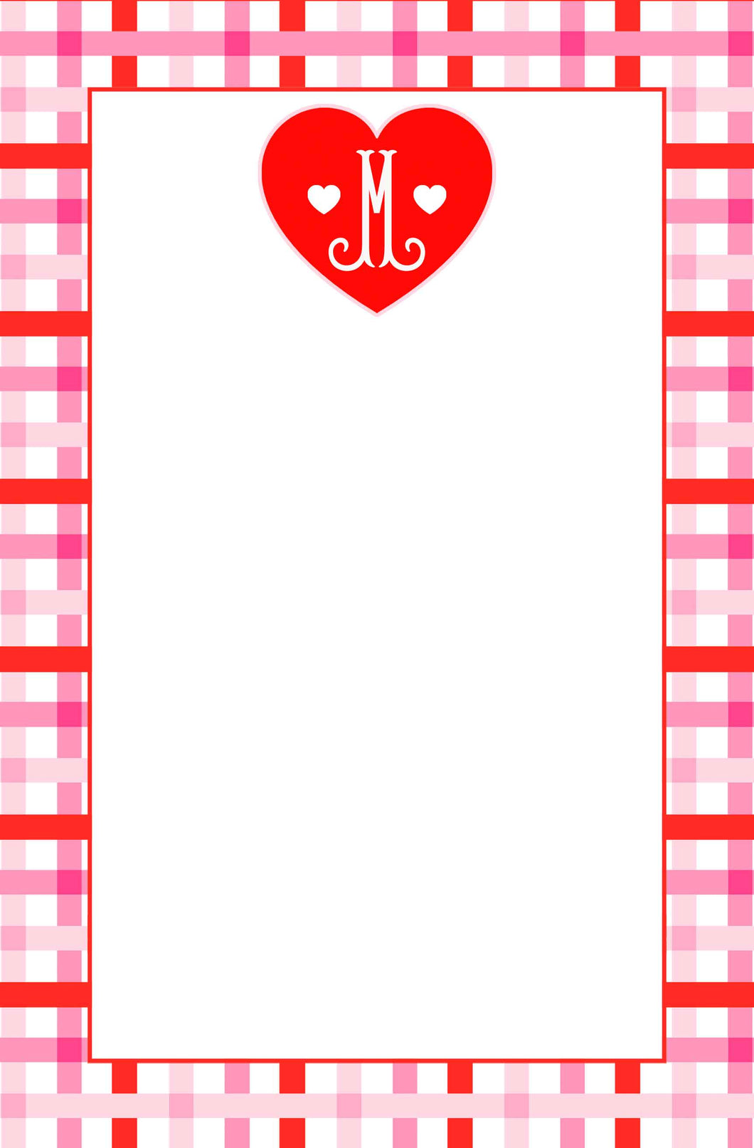 Cupid's Pink Plaid Valentine's Notepad, Multiple Sizes Available