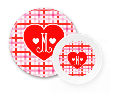 Cupid's Pink Plaid Personalized Children's Melamine Valentine's Plate & Bowl Set