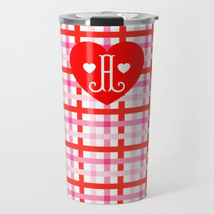 Cupid's Pink Plaid Personalized Valentine's Travel Tumbler