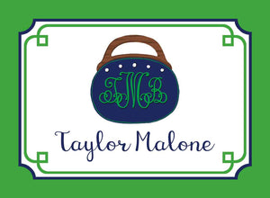 Bermuda Bag Personalized Gift Tags, Navy & Green