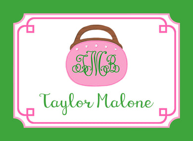 Bermuda Bag Personalized Gift Tags, Pink & Green