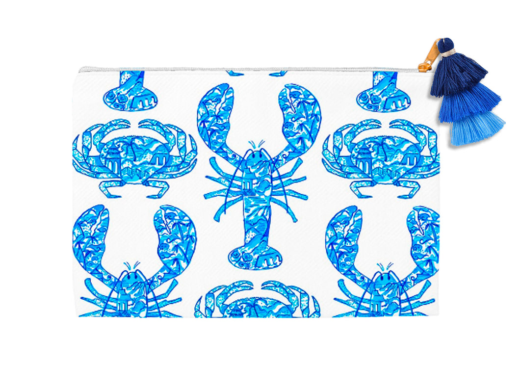 Chinois Lobsters & Crabs, Indigo, Cosmetic Bag