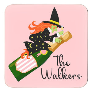Witch's Brew Personalized Halloween Cork Backed Coasters - Set of 4