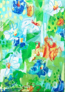 """Lilly Pads"" Original Abstract Artwork, 5""x7"""