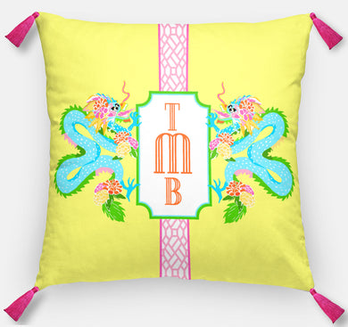 Dragon Crest Personalized Pillow, Yellow Lotus,18