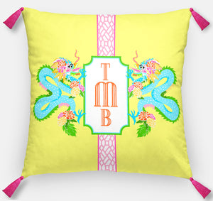 "Dragon Crest Personalized Pillow, Yellow Lotus,18""x18"" or 20""x20"""