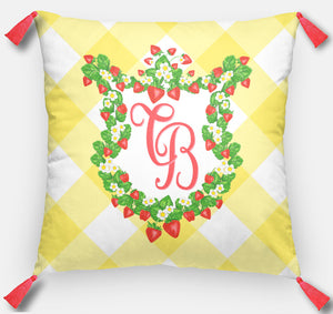 "Strawberry Fields Crest Personalized Pillow, Sunshine, 18""x18"" or 20""x20"""