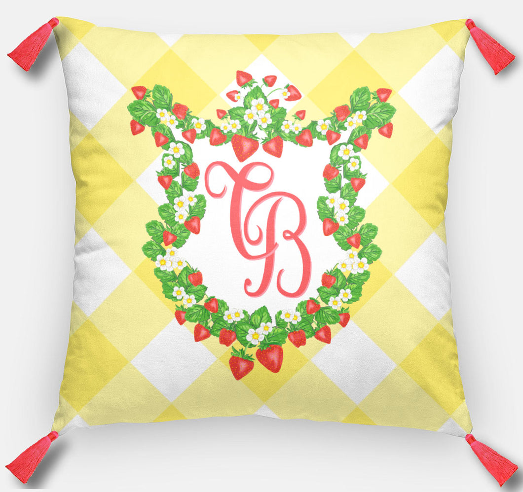 Strawberry Fields Crest Personalized Pillow, Sunshine, 18