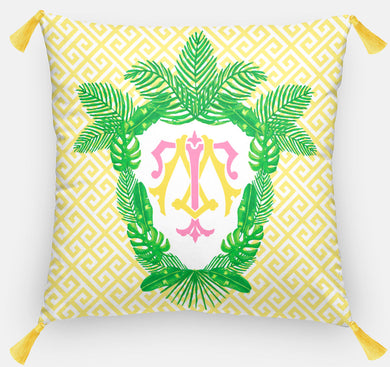 Tropical Palm Leaf Crest, Day Break, Personalized Pillow 18