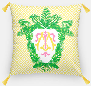 Tropical Palm Leaf Crest, Daybreak, Euro Pillow & Insert, 26
