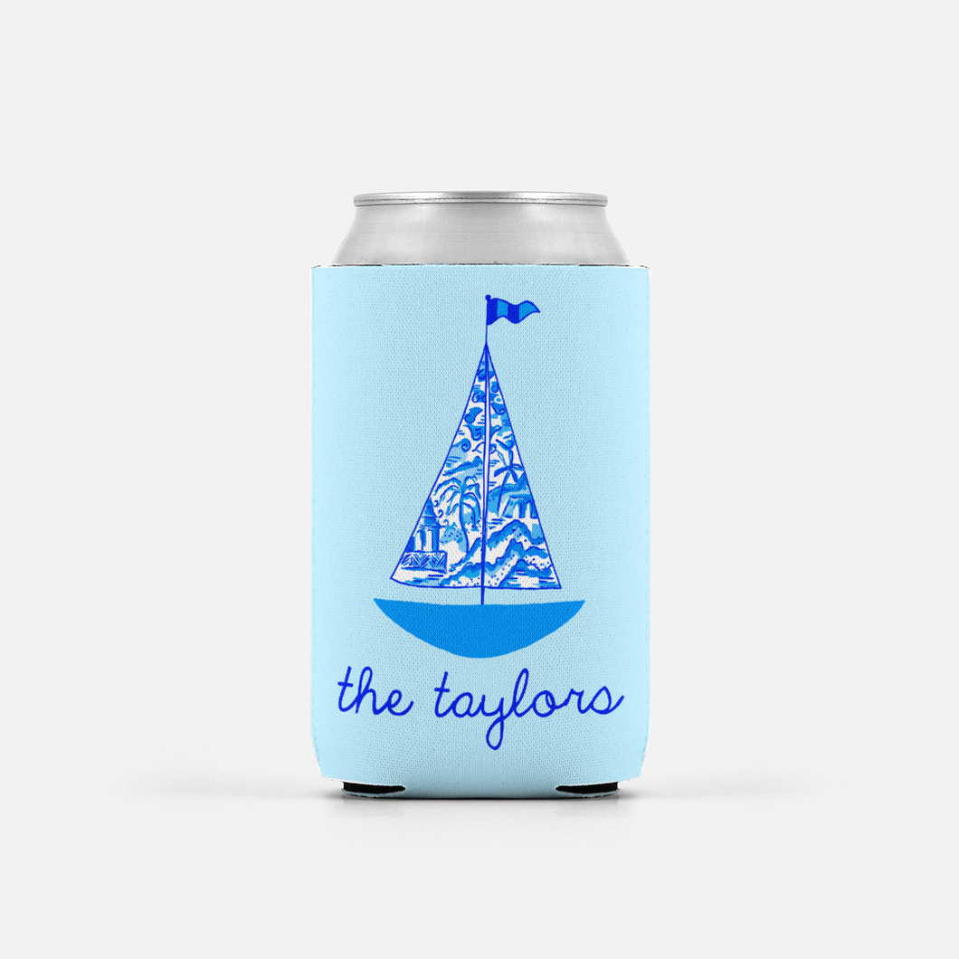 Set of 2 Chinois Sailboat, Seashore, Personalized Can Coolers