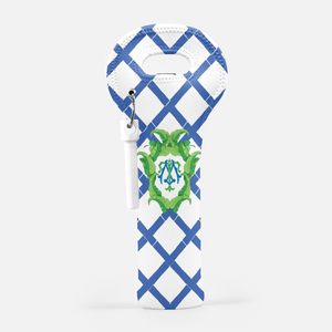Banana Leaf Crest, Aegean, Wine Carrier with Cork Screw