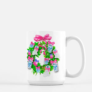A Few of My Favorite Things Holiday Wreath Porcelain Mug
