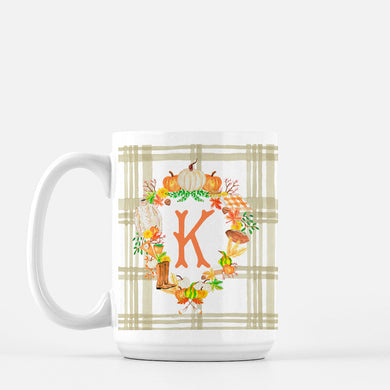 **SALE** Fall Custom Crest, K Initial, Porcelain Mug, 15oz.