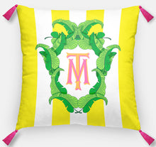 "Load image into Gallery viewer, Banana Leaf Crest Personalized Pillow, Island Sunrise,18""x18"" or 20""x20"", (2) Monogram Styles"
