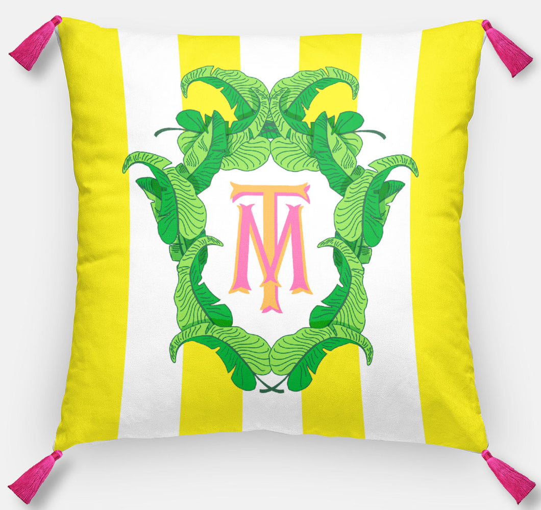 Banana Leaf Crest Personalized Pillow, Island Sunrise,18