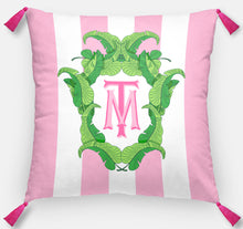 "Load image into Gallery viewer, Banana Leaf Crest Personalized Pillow, Flamingo,18""x18"" or 20""x20"", (2) Monogram Styles"