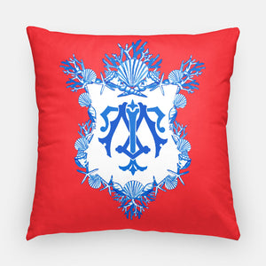 "Seashell Crest  Personalized Pillow, Patriotic,18""x18"" or 20""x20"""