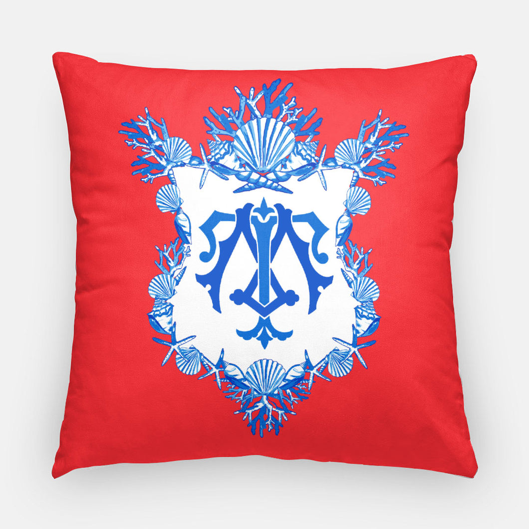 Seashell Crest  Personalized Pillow, Patriotic,18