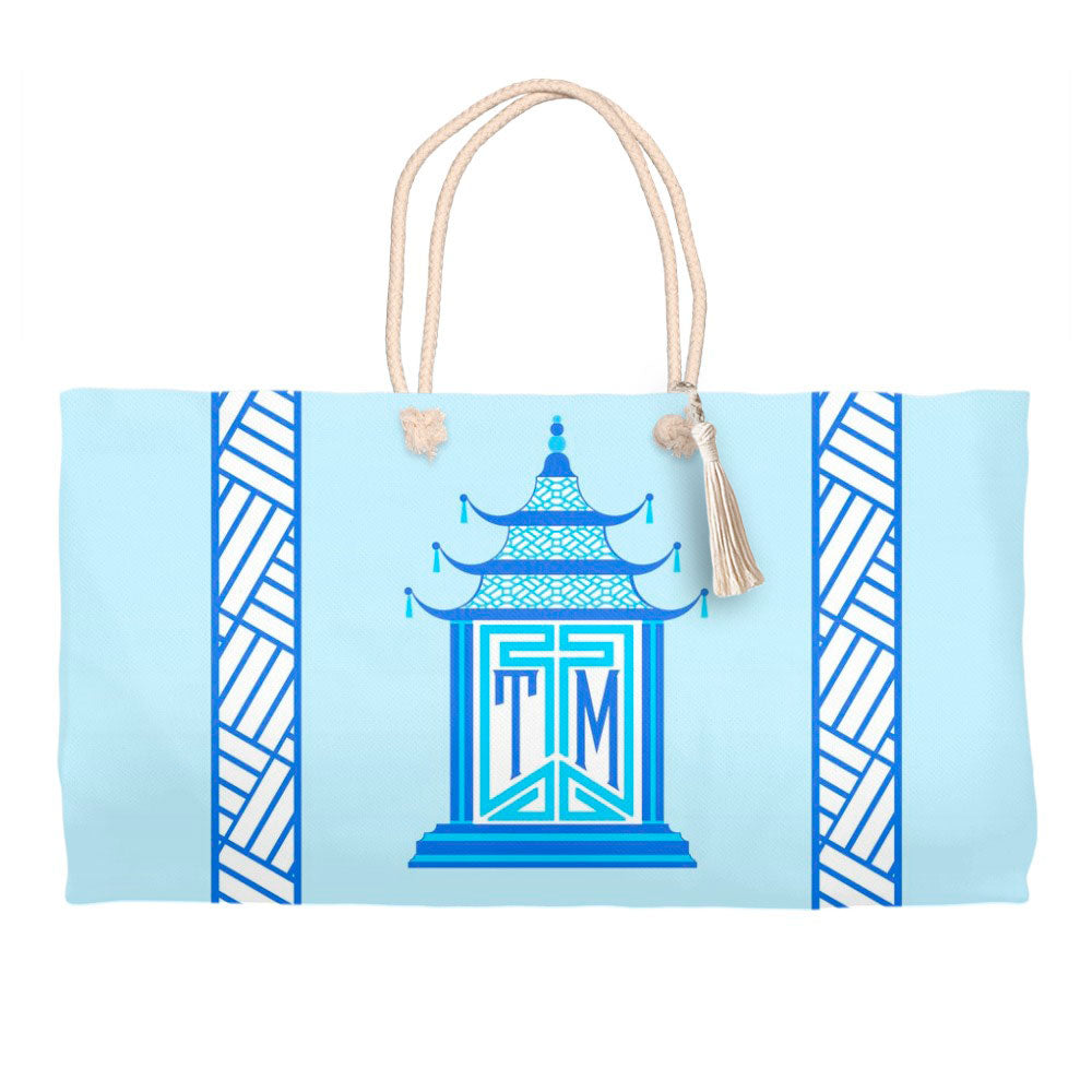 Royal Pagoda, Aquamarine, Tote Bag