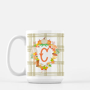**SALE** Fall Custom Crest, C Initial, Porcelain Mug, 15oz.