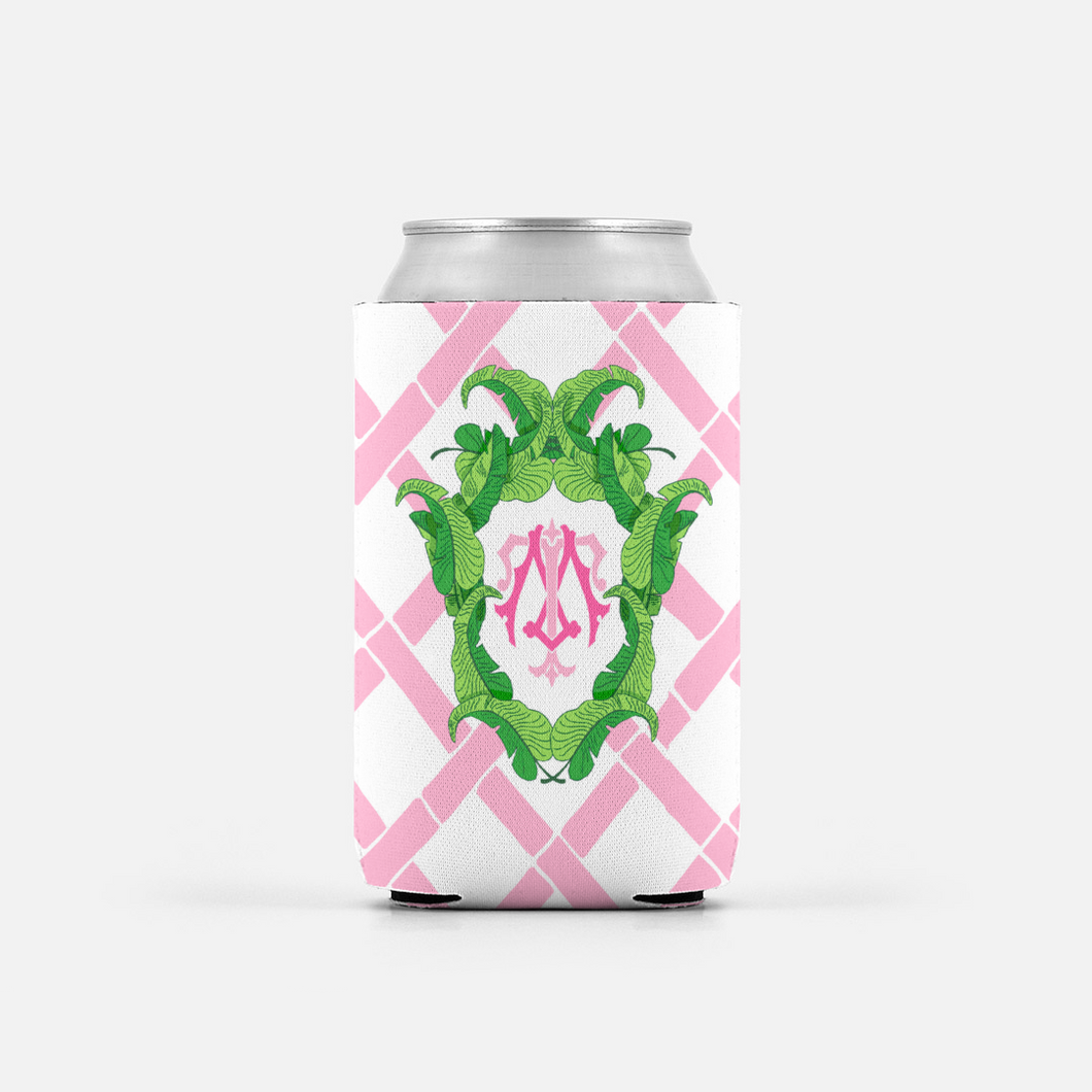 Set of 2 Pink Custom Banana Leaf Crest Can Coolers