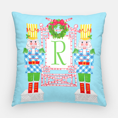 Nutcracker Sweet Holiday Personalized Pillow Cover, Winter Blue