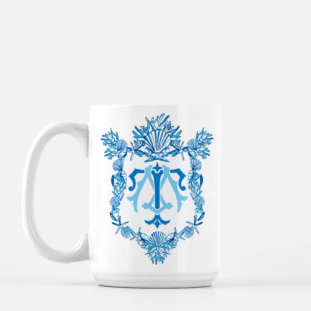 Seashell Custom Crest Mug, Deep Sea