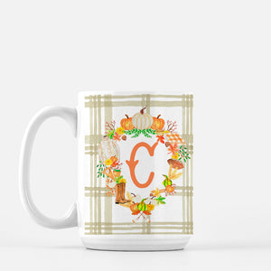 Fall Custom Crest Personalized Mug with Plaid, 3 Colors