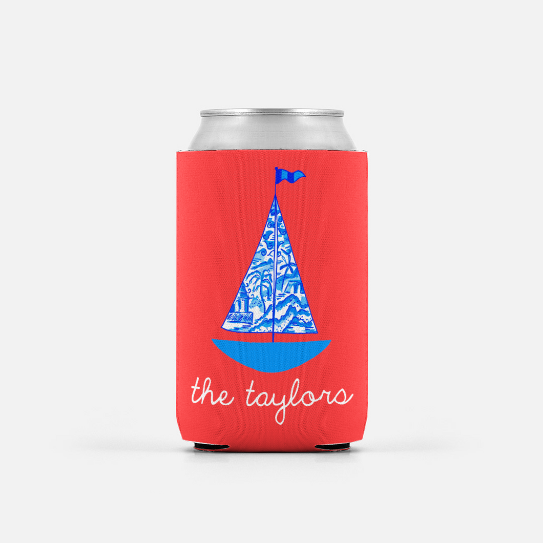 Set of 2 Chinois Sailboat, Geranium, Personalized Can Coolers