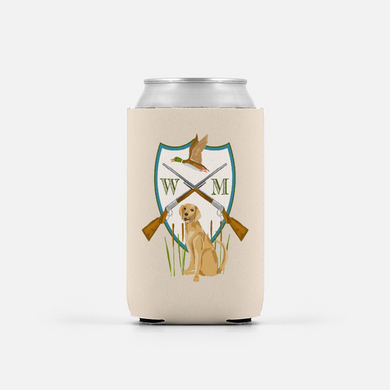 Men's Duck Hunting Custom Crest Personalized Can Coolers, Set of 2