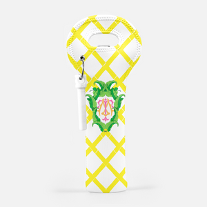 Banana Leaf Crest, Island Sunrise, Wine Carrier with Cork Screw