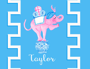 Trunk of Loving Elephant Valentine's Personalized Folded Note Cards, Blue