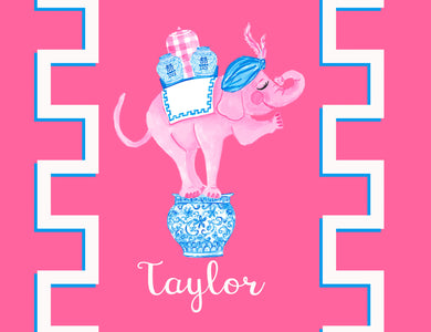 Trunk of Loving Elephant Valentine's Personalized Folded Note Cards, Pink