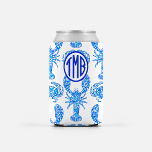 2 Chinois Lobsters & Crabs, Indigo, Personalized Can Coolers