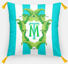 "Load image into Gallery viewer, Banana Leaf Crest Personalized Pillow, Caribbean,18""x18"" or 20""x20"", (2) Monogram Styles"