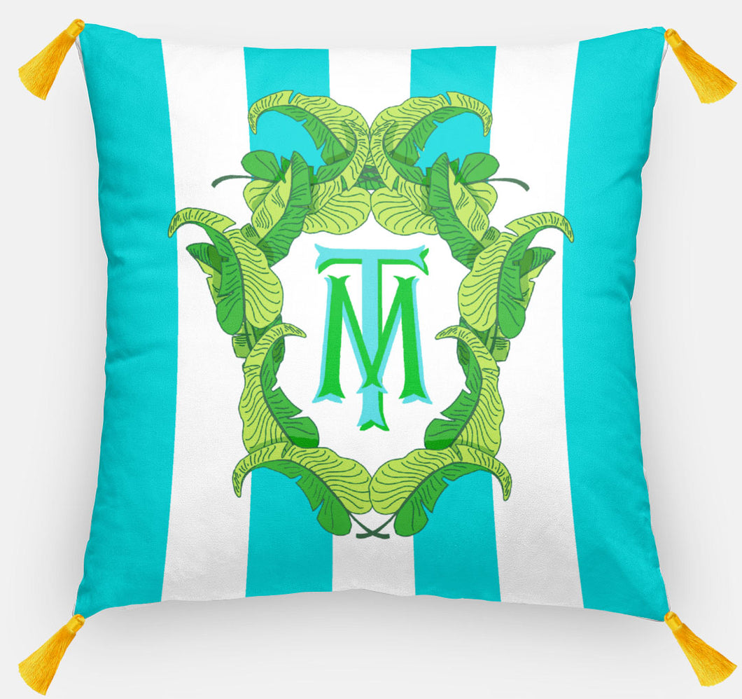 Banana Leaf Crest Personalized Pillow, Caribbean,18