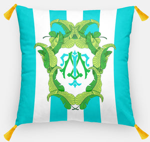 "Banana Leaf Crest Personalized Pillow, Caribbean,18""x18"" or 20""x20"", (2) Monogram Styles"