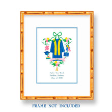 Load image into Gallery viewer, Personalized Graduation Crest for Girls Art Print